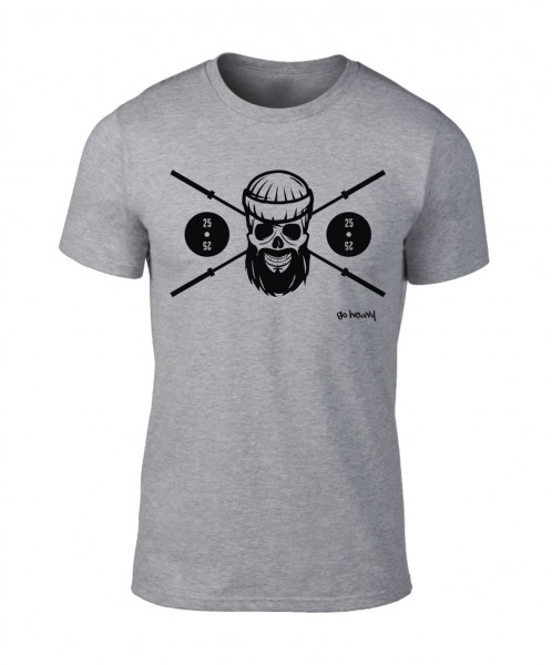 Go Heavy Barbell Skull - Herren Shirt - grau