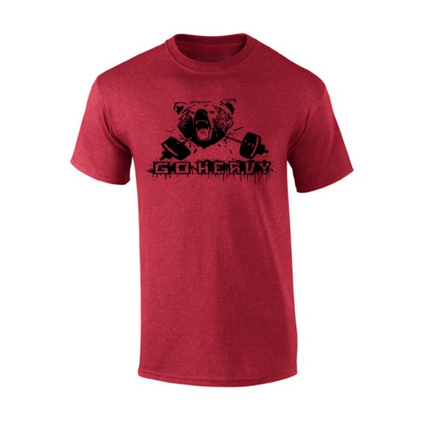Go Heavy Bear & Barbell Herren Shirt - heather red