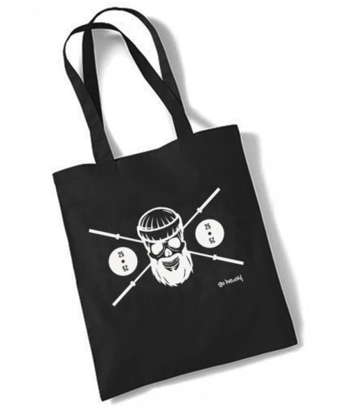 Go Heavy Barbell Skull - Gym Jutebeutel - schwarz