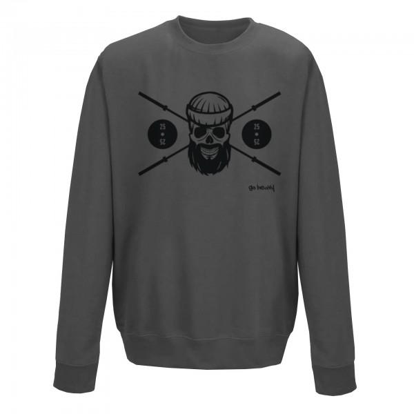 Go Heavy Herren Sport Sweatshirt - Barbell Skull - grau