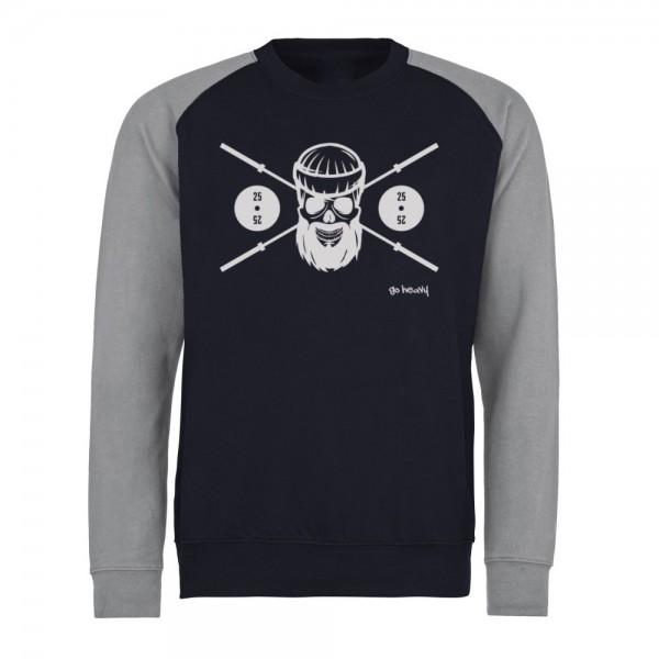 Go Heavy Barbell Skull - Herren Baseball Sweat - blau/grau