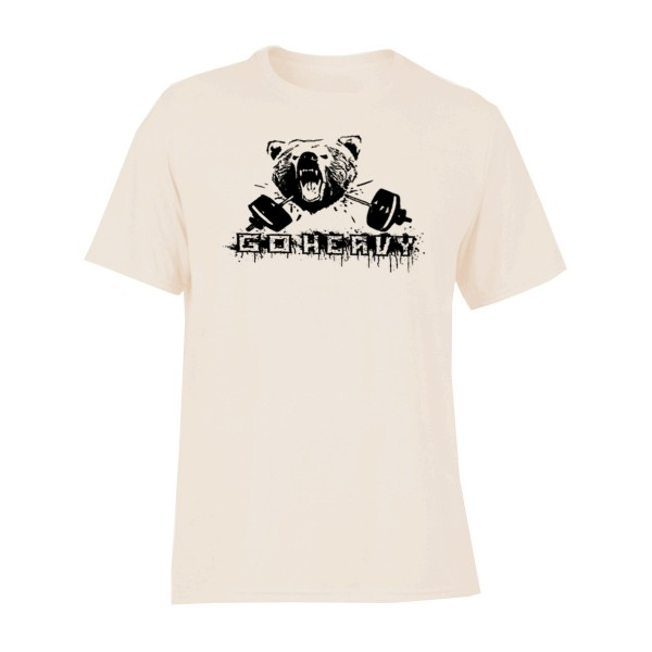 Go Heavy Bear & Barbell Herren Shirt - sand