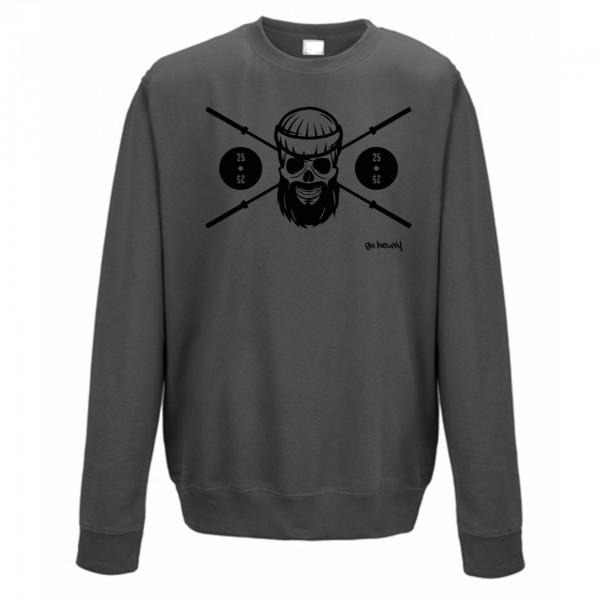 Go Heavy Barbell Skull Herren Sweatshirt - grau
