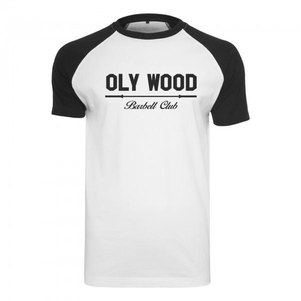 Go Heavy Oly Wood Barbell Club - Herren Basball Shirt - weiß/schwarz