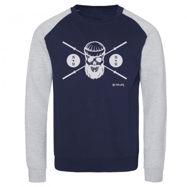 Go Heavy Barbell Skull - Herren Baseball Sweat - blau/grau