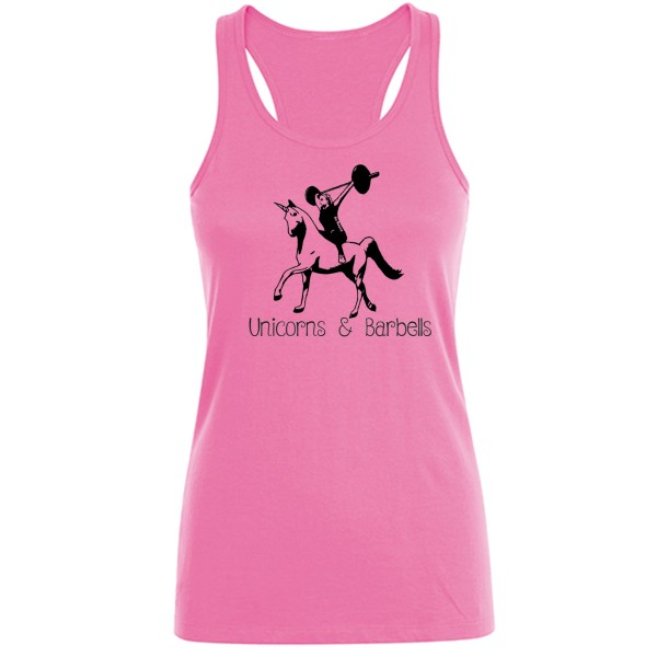 Go Heavy Unicorns & Barbells - Damen Tank Top - rosa