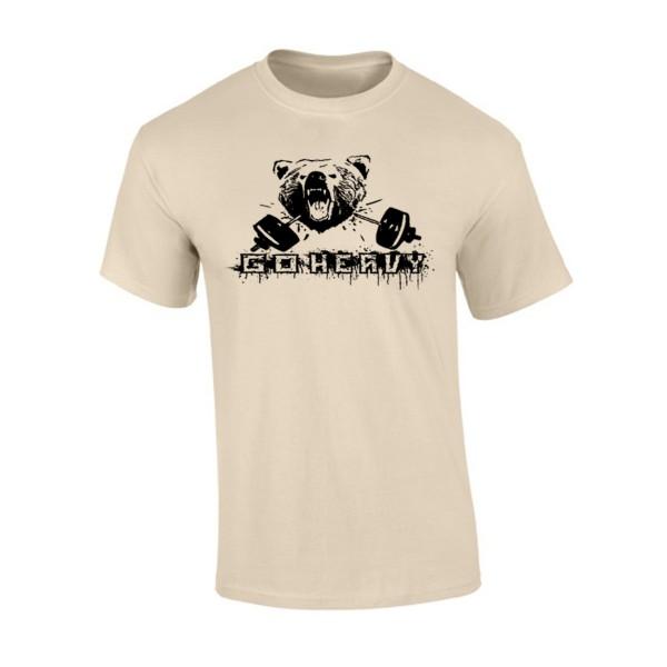 Go Heavy Bear & Barbell Herren Shirt - sand