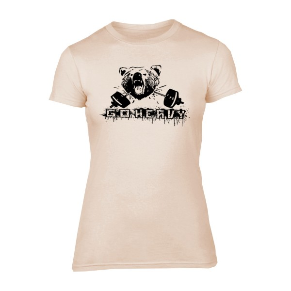 Go Heavy Bear & Barbell Damen Shirt - sand