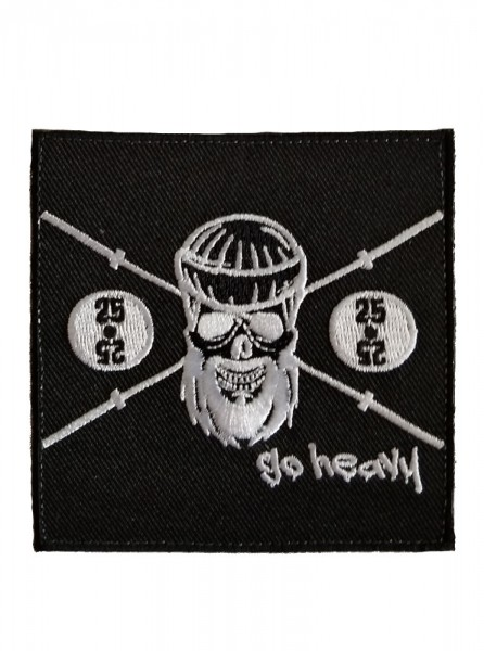 Go Heavy Barbell Skull Patch