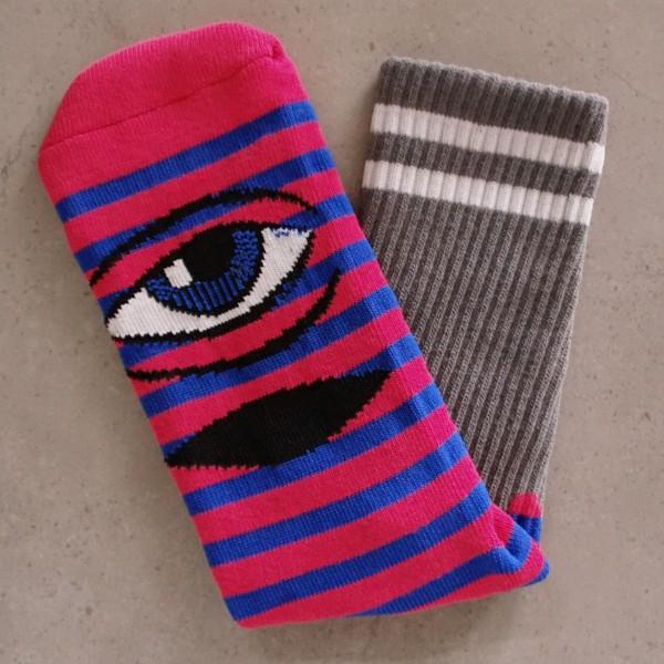 Toy-Machine Socks - Sect Eye Stripe - pink/blau