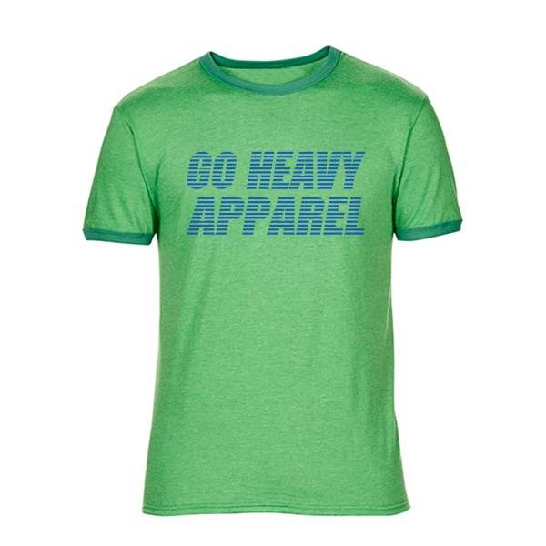 Go Heavy Herren Shirt - Stripes - heather green