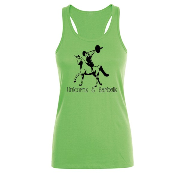 Go Heavy Unicorns & Barbells - Damen Tank Top - grün