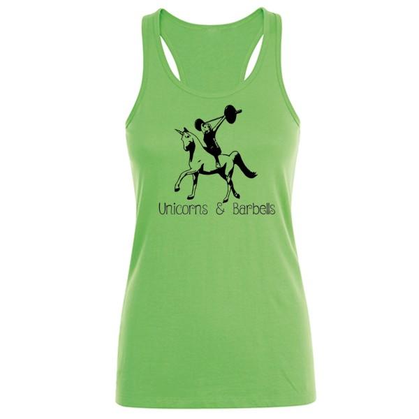 Go Heavy Unicorns & Barbells - Damen Tank Top - grün