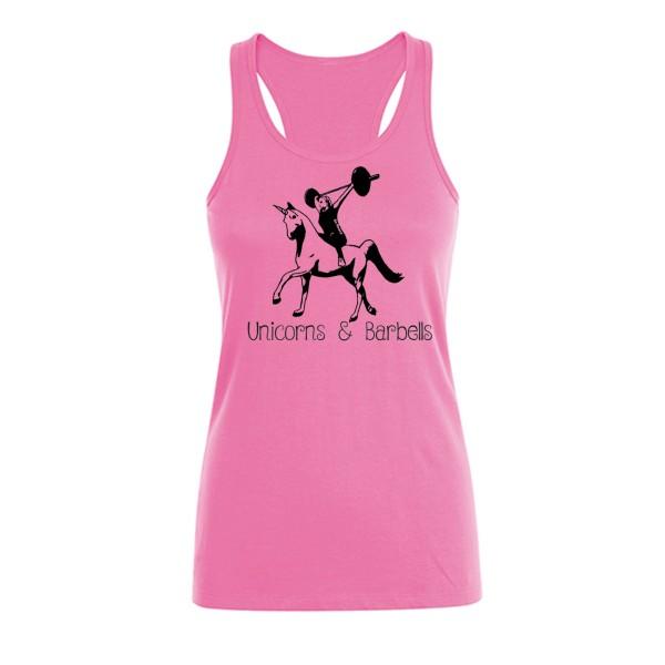 Go Heavy Unicorns & Barbells - Damen Tank Top - rosa