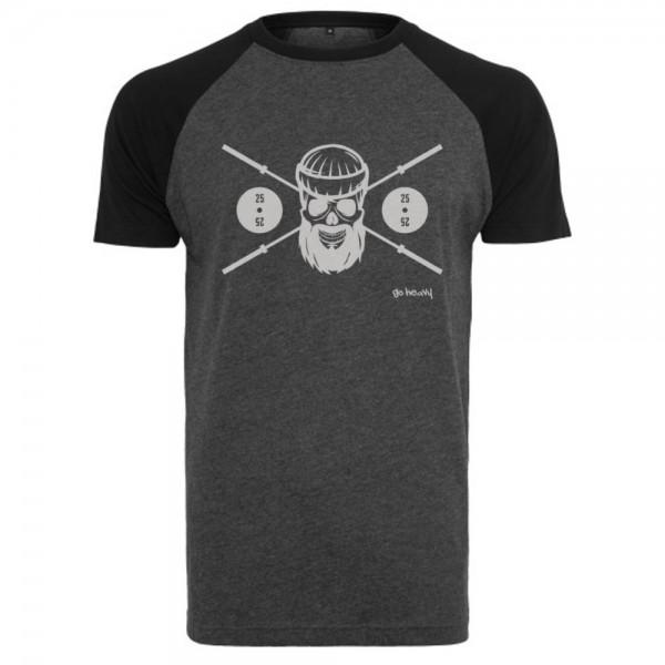 Go Heavy Barbell Skull - Herren Baseball Shirt - grau/schwarz